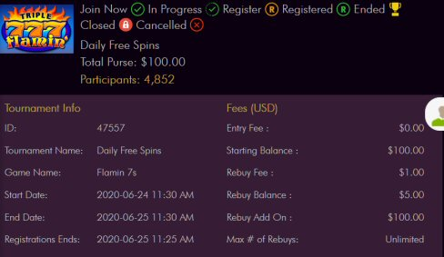Daily Free Spins Tournament At Miami Club Casino