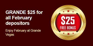 February Depositors At Grande Vegas Casino