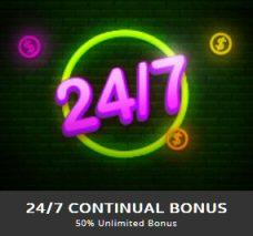 24/7 CONTINUAL BONUS At Casino Max Mobile